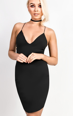 View the Raina Strappy Curve Hem Bodycon Dress online at iKrush