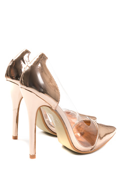 View the Alicia Rose Gold Metallic Clear Panel Court Heels online at iKrush
