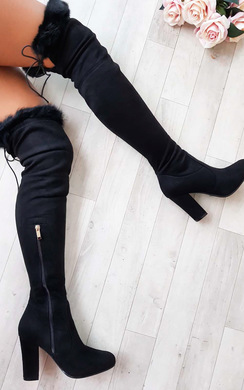 View the Claudia Faux Suede Fur High Boots  online at iKrush
