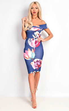 View the Fendy Bardot Floral Midi Dress online at iKrush
