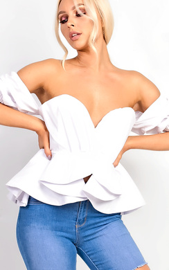 View the Isabelle Bardot Ruffle Sleeve Peplum Top  online at iKrush