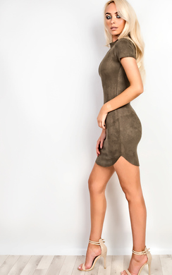 View the Madisyn Suede Bodycon Dress online at iKrush