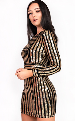 View the Kassy Long Sleeved Sequin Bodycon Dress online at iKrush