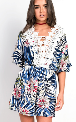 View the Cairo Crochet Floral Print Playsuit online at iKrush