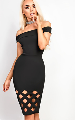 View the Nickie Lasercut Off Shoulder Bodycon Dress online at iKrush