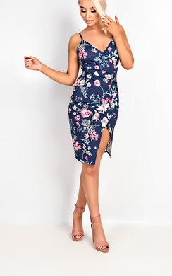 View the Marilyn Floral Wrap Split Dress online at iKrush