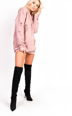 View the Ava Distressed Oversized Jumper Dress online at iKrush