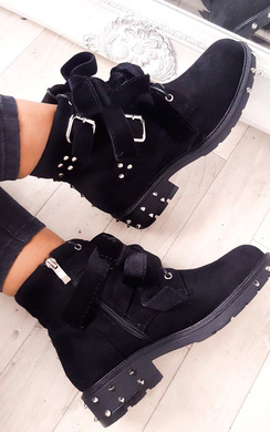 View the Taylor Studded Bow Faux Suede Ankle Boots online at iKrush
