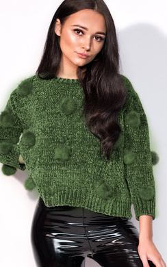 View the Jesse Faux Fur Pom Pom Knitted Jumper online at iKrush
