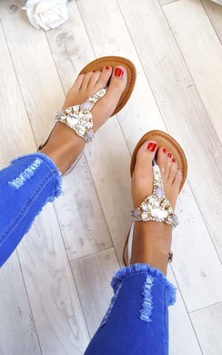 View the Taya Crystal Embellished Sandals online at iKrush