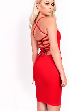 View the Jenna Strappy Lace Up Bodycon Dress online at iKrush