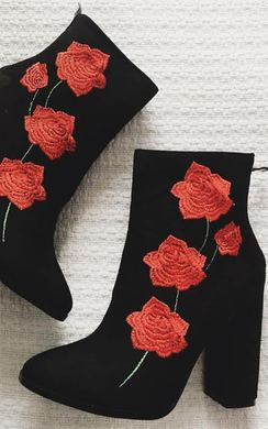 View the Niamh Floral Faux Suede Heeled Ankle Boots online at iKrush