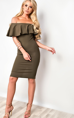 View the Kiara Bardot Bodycon Dress online at iKrush