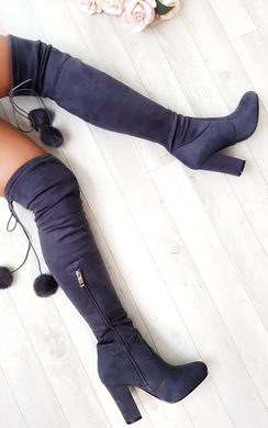 View the Poppy Pompom Faux Suede Knee High Boots  online at iKrush