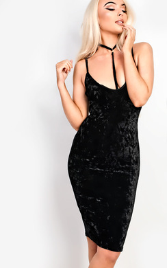 View the Leonia Velour Choker Neck Bodycon Dress online at iKrush