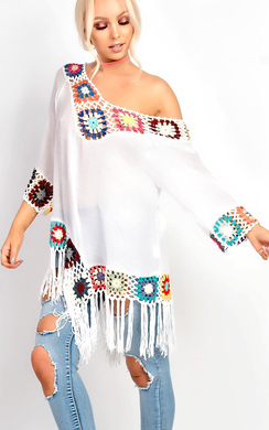 View the Maya Fringe Crochet Multi-Coloured Longline Kaftan Cover Up online at iKrush