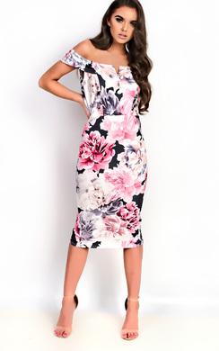 View the Daijah Bardot Floral Midi Dress online at iKrush