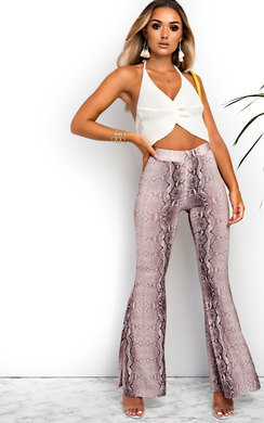 View the Abi High Waist Snake Print Flare Trousers  online at iKrush
