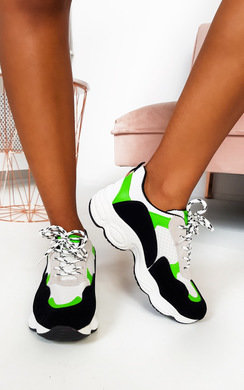 View the Abigail Chunky Mesh Trainers online at iKrush