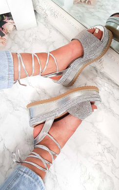 View the Adalyn Metallic Diamante Lace Up Wedge Sandal online at iKrush