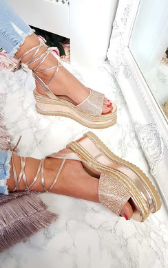 View the Adalyn Metallic Diamante Lace Up Wedge Sandal online at iKrush