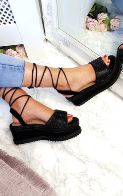 View the Adalyn Diamante Lace Up Wedge Sandals online at iKrush