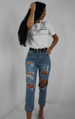 View the Afia Distressed Mom Jeans  online at iKrush