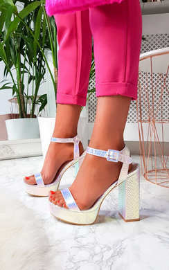 View the Afia Iridescent Platform Block Heels online at iKrush