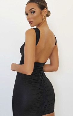 View the Agata Backless Ruched Bodycon Dress online at iKrush