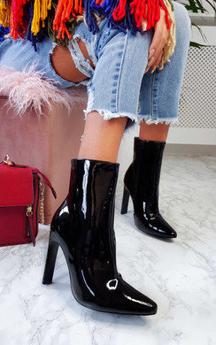 View the Ailie Patent Pointed Boots online at iKrush