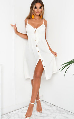 View the Aimee Button Up Tie Midi Dress online at iKrush