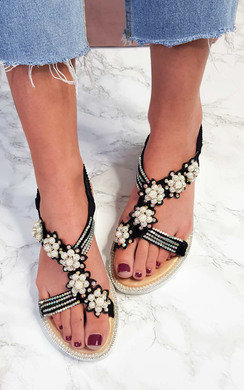 View the Ains Iridescent Pearl Embellished Sandals online at iKrush