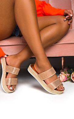 View the Ainslie Flatform Diamante Sandals online at iKrush