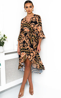 View the Aisleen Printed Wrap Midi Dress online at iKrush