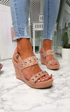View the Alana Faux Suede Studded Wedges online at iKrush