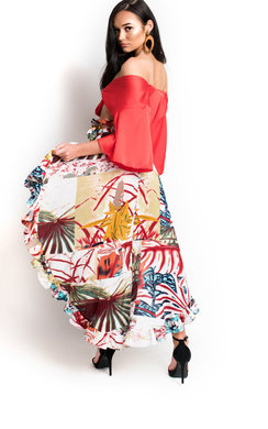 View the Alanis Chiffon Frill Floral Skirt online at iKrush