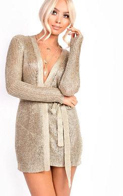 View the Alaska Metallic Tie Waist Knit Dress online at iKrush