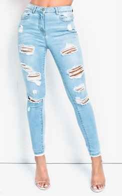 View the Alexa Distressed Mid-Rise Skinny Jeans  online at iKrush