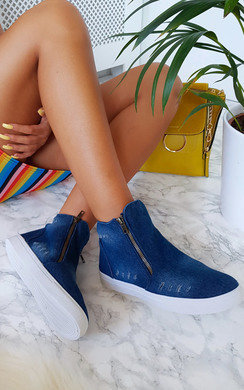 View the Alexa Slip On Zip Denim Trainers online at iKrush