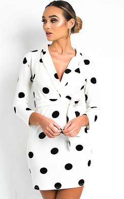 View the Alexis Polka Dot Low Neck Dress online at iKrush