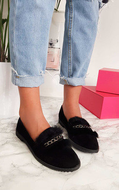View the Alisa Chained Faux Fur Pumps online at iKrush