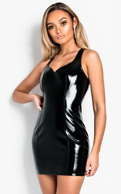 View the Alma Patent Bodycon Mini Dress  online at iKrush