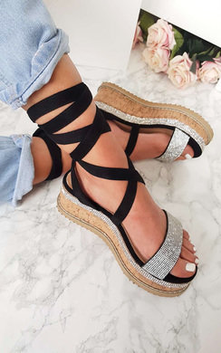 View the Amalia Diamante Cork Strappy Wedges online at iKrush