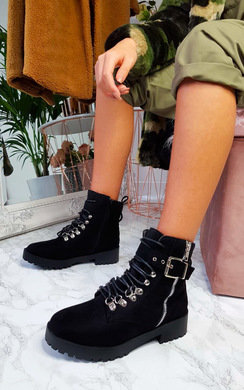 View the Amber Buckle Biker Boots online at iKrush