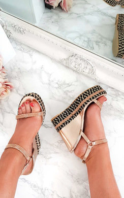 View the Amber Embellished Aztec Roped Wedges  online at iKrush