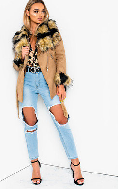 View the Amber Faux Fur Collar Jacket online at iKrush