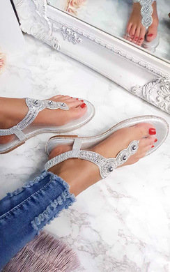 View the Amerie Diamante Embellished Sandals online at iKrush