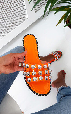 View the Ami Studded Caged Sandals online at iKrush