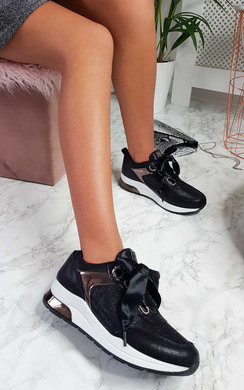 View the Amila Chunky Sole Glitter Sport Trainer in Black  online at iKrush
