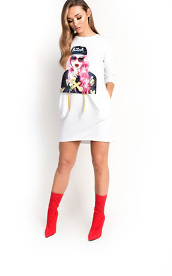 View the Ana Pearl Girl Slogan T-Shirt Dress online at iKrush